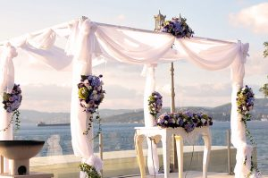 Mavi - mor tonlarda nikah takı